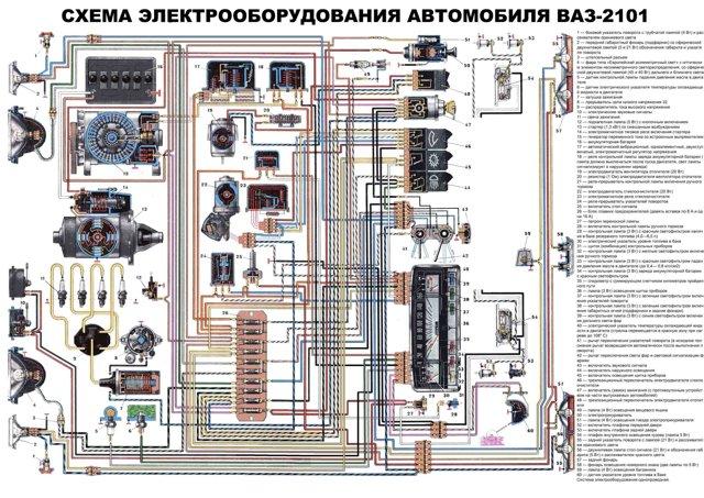 цветная электросхема газ 3309